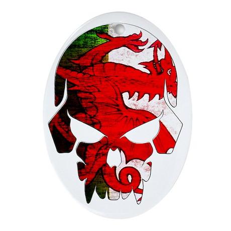 Welsh Flag Skull Oval Ornament