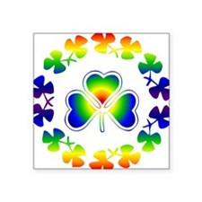 "Clover Irish Rainbow Square Sticker 3"" x 3"""