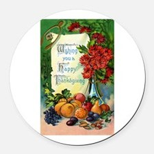 Thanksgiving Vintage Greeting Card Round Car Magne
