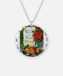 Thanksgiving Vintage Greeting Card Necklace