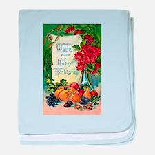 Thanksgiving Vintage Greeting Card baby blanket