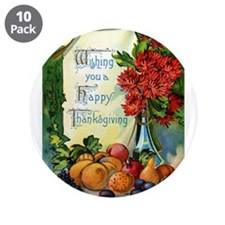 "Thanksgiving Vintage Greeting Card 3.5"" Button (10"