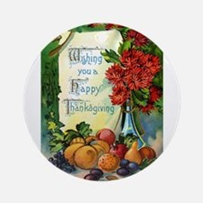 Thanksgiving Vintage Greeting Card Ornament (Round
