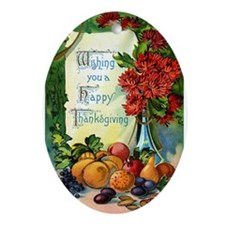 Thanksgiving Vintage Greeting Card Ornament (Oval)
