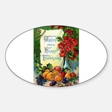 Thanksgiving Vintage Greeting Card Sticker (Oval)