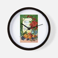 Thanksgiving Vintage Greeting Card Wall Clock