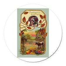 Thanksgiving Greetings Round Car Magnet