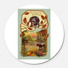 Thanksgiving Greetings Round Car Magnet