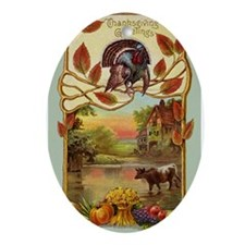 Thanksgiving Greetings Ornament (Oval)