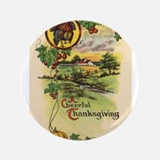 "Vintage Thanksgiving Card 3.5"" Button (100 pack)"