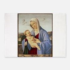 Vintage Painting of Madonna and Child 5'x7'Area Ru