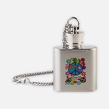 Imagine Peace Symbols Flask Necklace
