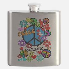 Imagine Peace Symbols Flask