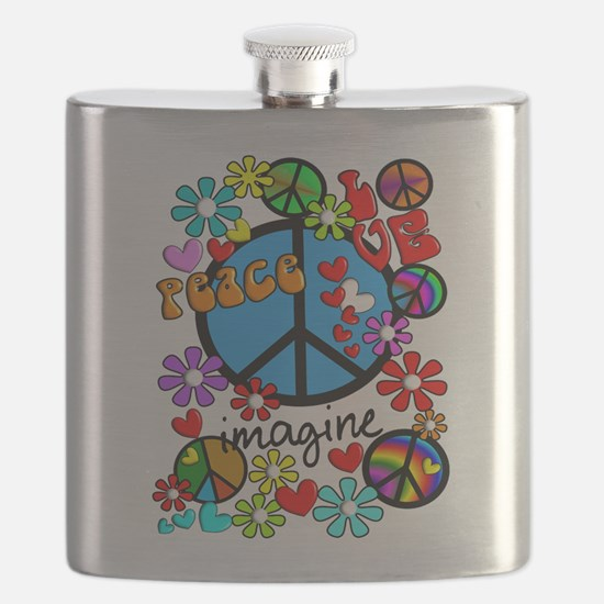 Imagine Peace Symbols Flask