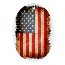 Distressed American flag Oval Ornament