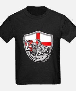 English Knight Fighting Dragon England Flag Shield