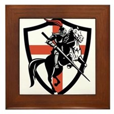 English Knight Riding Horse England Flag Retro Fra