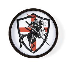 English Knight Riding Horse England Flag Retro Wal