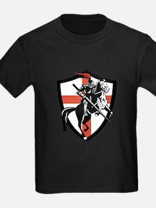 English Knight Riding Horse England Flag Retro T-S