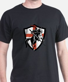 English Knight Riding Horse England Flag Retro T-S