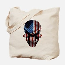 Patriotic American Flag Skull Tote Bag
