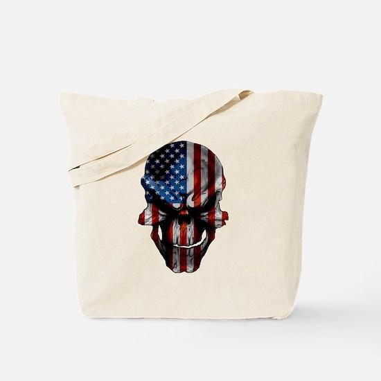 Patriotic American Flag Skull Tote Bag