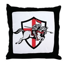 English Knight Riding Horse England Flag Retro Thr