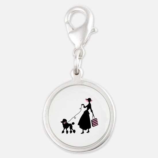 French Poodle Shopping Woman Charms