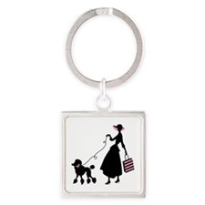 French Poodle Shopping Woman Keychains