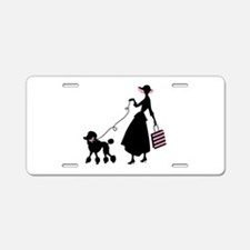 French Poodle Shopping Woman Aluminum License Plat