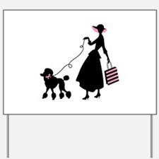French Poodle Shopping Woman Yard Sign