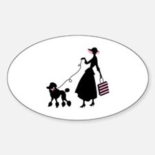 French Poodle Shopping Woman Decal