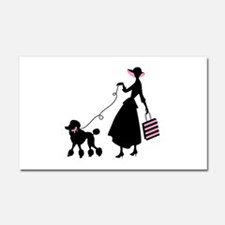 French Poodle Shopping Woman Car Magnet 20 x 12