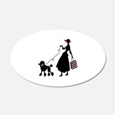 French Poodle Shopping Woman Wall Decal