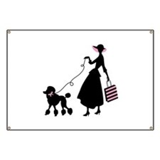 French Poodle Shopping Woman Banner
