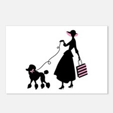 French Poodle Shopping Woman Postcards (Package of
