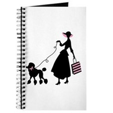 French Poodle Shopping Woman Journal