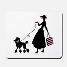 French Poodle Shopping Woman Mousepad