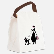 French Poodle Shopping Woman Canvas Lunch Bag