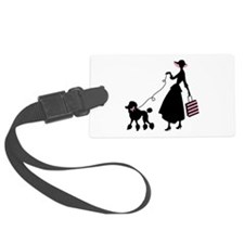 French Poodle Shopping Woman Luggage Tag