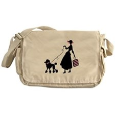 French Poodle Shopping Woman Messenger Bag