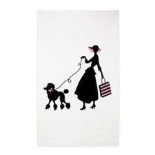 French Poodle Shopping Woman 3'x5' Area Rug