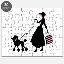 French Poodle Shopping Woman Puzzle