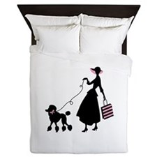French Poodle Shopping Woman Queen Duvet