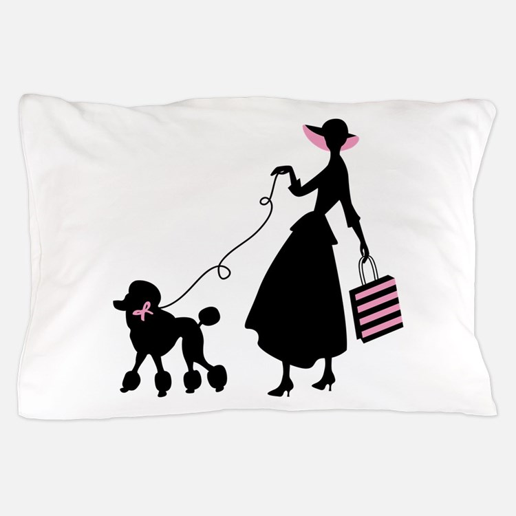 French Poodle Shopping Woman Pillow Case