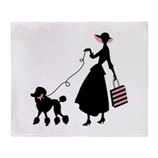 French Poodle Shopping Woman Throw Blanket