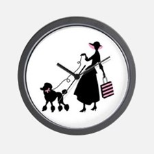 French Poodle Shopping Woman Wall Clock