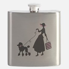 French Poodle Shopping Woman Flask