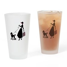 French Poodle Shopping Woman Drinking Glass
