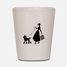 French Poodle Shopping Woman Shot Glass